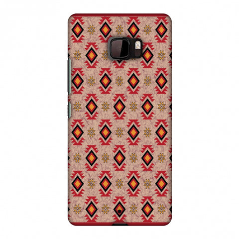 Cool Tribals - Bright Red And Sunflower Yellow Slim Hard Shell Case For HTC U Ultra