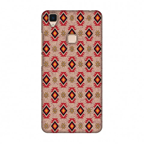 Cool Tribals - Bright Red And Sunflower Yellow Slim Hard Shell Case For Vivo V3
