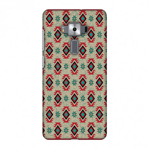 Cool Tribals - Teal And Red Slim Hard Shell Case For Asus Zenfone 3 Deluxe ZS570KL