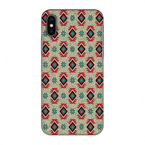 Cool Tribals - Teal And Red Slim Hard Shell Case For Apple iPhone X