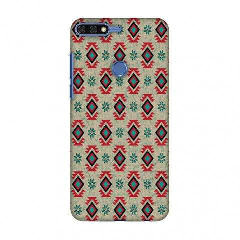 Cool Tribals - Teal And Red Slim Hard Shell Case For Huawei Honor 7C