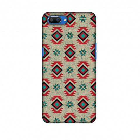 Cool Tribals - Teal And Red Slim Hard Shell Case For Oppo Realme C1