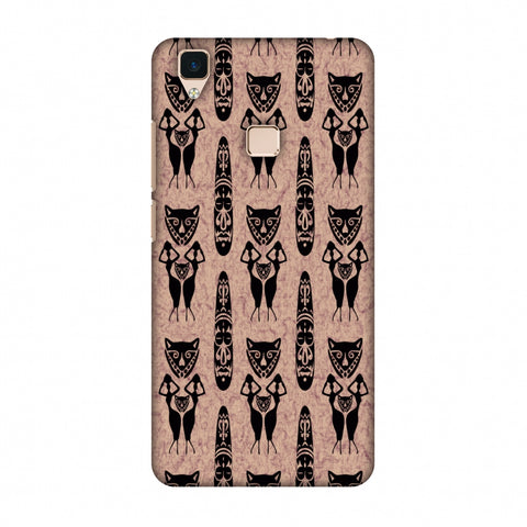 Tribal Murals - Black And Beige Slim Hard Shell Case For Vivo V3