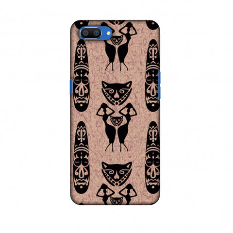 Tribal Murals - Black And Beige Slim Hard Shell Case For Oppo Realme C1