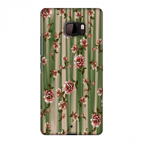 Dahlia With Texture - Olive And Red Slim Hard Shell Case For HTC U Ultra