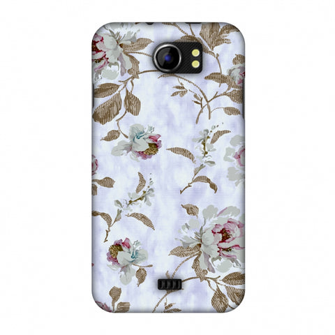 TextuRed Roses - Lavender And Pearl White Slim Hard Shell Case For Micromax Canvas 2 A110