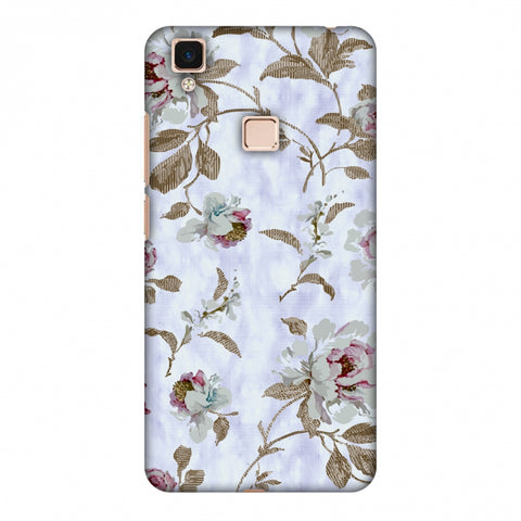 TextuRed Roses - Lavender And Pearl White Slim Hard Shell Case For Vivo V3 Max