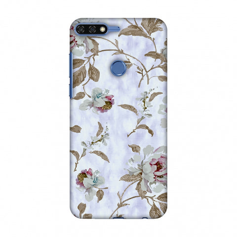 TextuRed Roses - Lavender And Pearl White Slim Hard Shell Case For Huawei Honor 7C