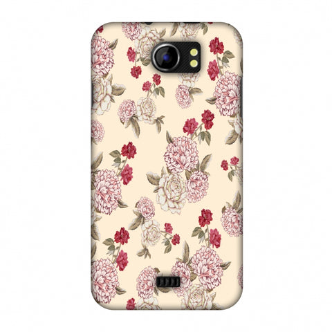 Dahlia And Rose - Cream Slim Hard Shell Case For Micromax Canvas 2 A110