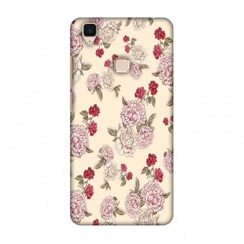 Dahlia And Rose - Cream Slim Hard Shell Case For Vivo V3