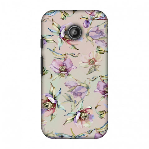 Watercolour Poppy - Lavender And Pink Slim Hard Shell Case For Motorola Moto E 2nd Gen