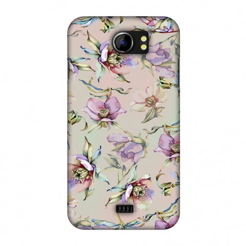 Watercolour Poppy - Lavender And Pink Slim Hard Shell Case For Micromax Canvas 2 A110
