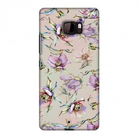 Watercolour Poppy - Lavender And Pink Slim Hard Shell Case For HTC U Ultra