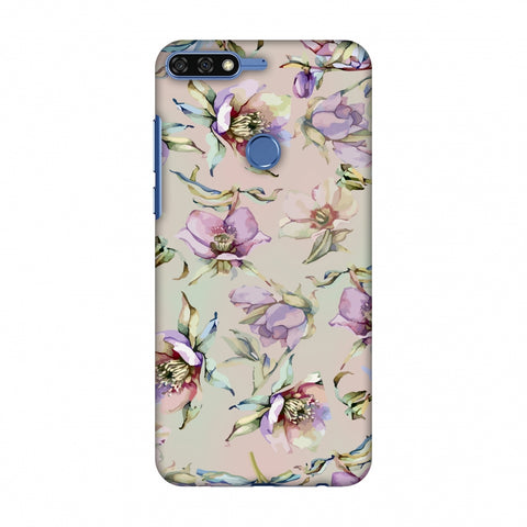 Watercolour Poppy - Lavender And Pink Slim Hard Shell Case For Huawei Honor 7C