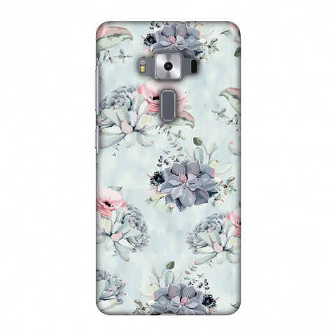 Watercolour Flowers - Blue And Pink Slim Hard Shell Case For Asus Zenfone 3 Deluxe ZS570KL