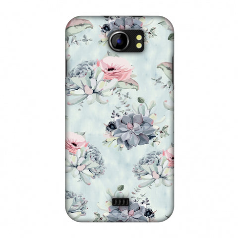 Watercolour Flowers - Blue And Pink Slim Hard Shell Case For Micromax Canvas 2 A110