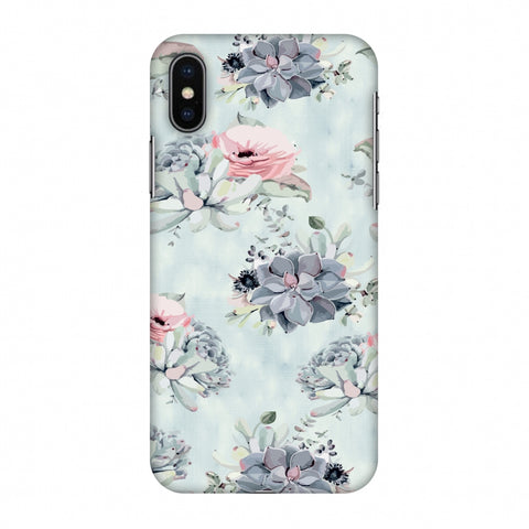 Watercolour Flowers - Blue And Pink Slim Hard Shell Case For Apple iPhone X