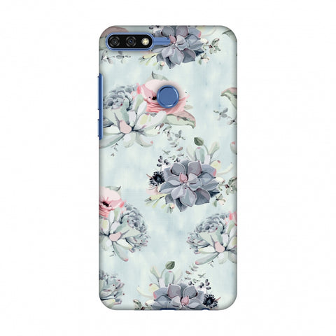 Watercolour Flowers - Blue And Pink Slim Hard Shell Case For Huawei Honor 7C