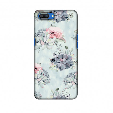 Watercolour Flowers - Blue And Pink Slim Hard Shell Case For Oppo Realme C1