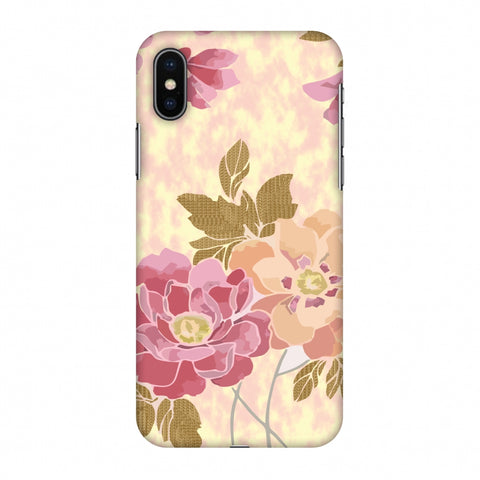 Poster Floral And TextuRed Leaves - Begonia Slim Hard Shell Case For Apple iPhone X