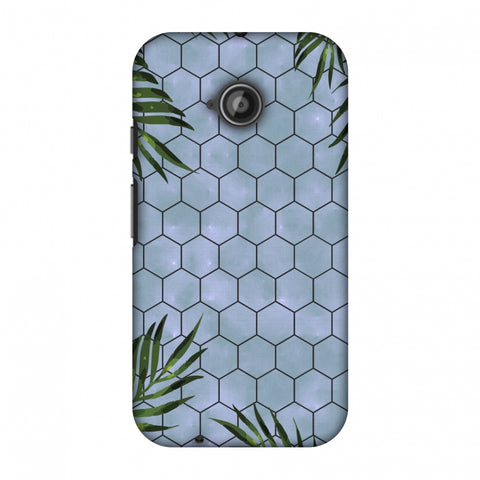 Ferns Over Honeycomb - Pale Blue Slim Hard Shell Case For Motorola Moto E 2nd Gen