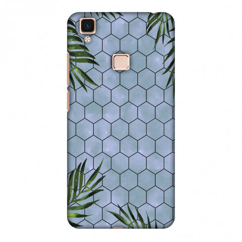 Ferns Over Honeycomb - Pale Blue Slim Hard Shell Case For Vivo V3 Max