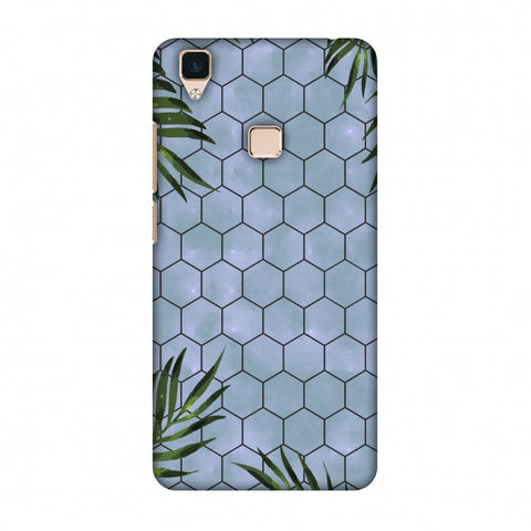 Ferns Over Honeycomb - Pale Blue Slim Hard Shell Case For Vivo V3