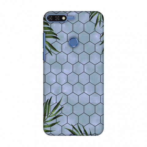 Ferns Over Honeycomb - Pale Blue Slim Hard Shell Case For Huawei Honor 7C