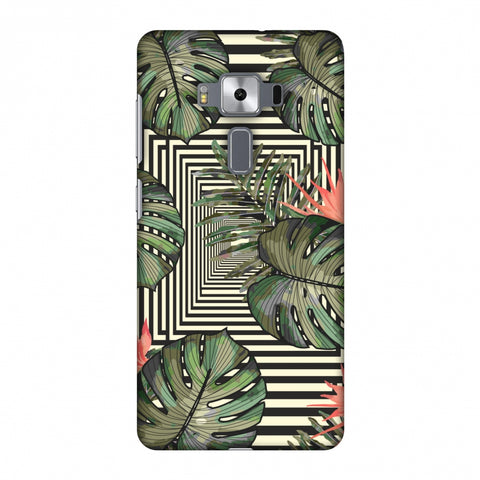 Leaves Over Stripes - Forest Green Slim Hard Shell Case For Asus Zenfone 3 Deluxe ZS570KL