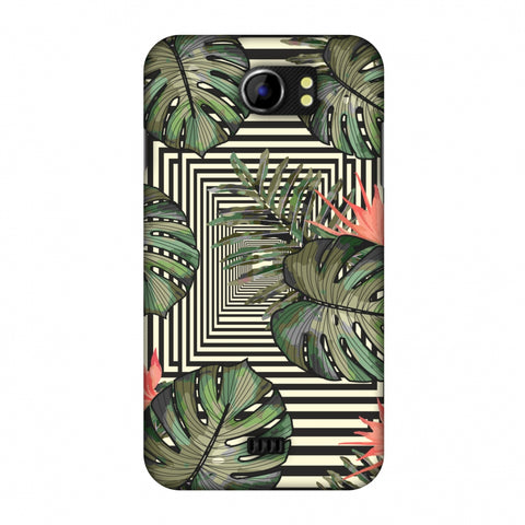 Leaves Over Stripes - Forest Green Slim Hard Shell Case For Micromax Canvas 2 A110
