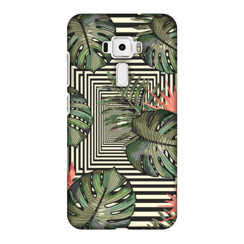 Leaves Over Stripes - Forest Green Slim Hard Shell Case For Asus Zenfone 3 ZE520KL