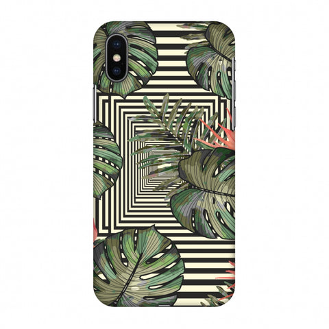 Leaves Over Stripes - Forest Green Slim Hard Shell Case For Apple iPhone X