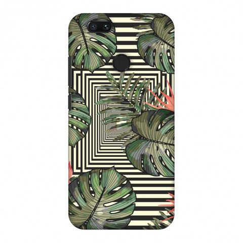 Leaves Over Stripes - Forest Green Slim Hard Shell Case For Xiaomi MI A1-5X