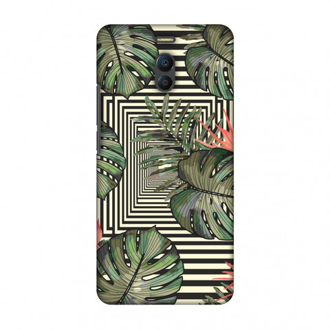 Leaves Over Stripes - Forest Green Slim Hard Shell Case For Meizu Note 6
