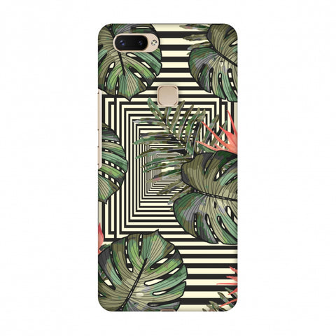 Leaves Over Stripes - Forest Green Slim Hard Shell Case For Vivo X20 Plus