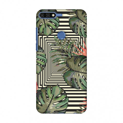 Leaves Over Stripes - Forest Green Slim Hard Shell Case For Huawei Honor 7C