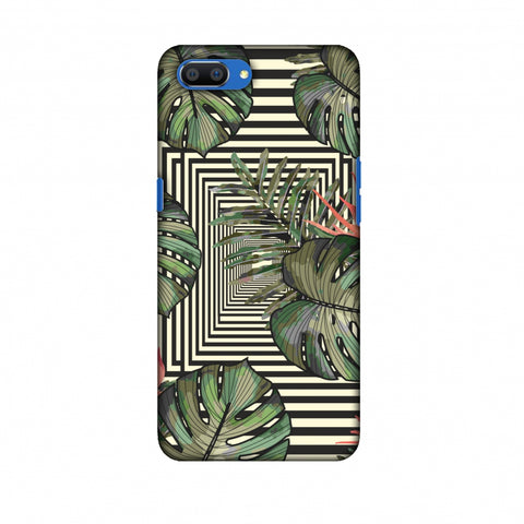 Leaves Over Stripes - Forest Green Slim Hard Shell Case For Oppo Realme C1