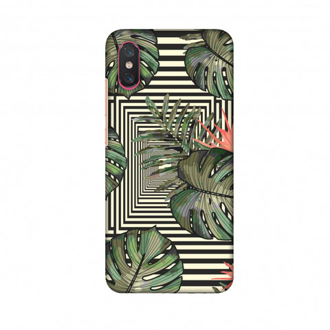 Leaves Over Stripes - Forest Green Slim Hard Shell Case For Xiaomi Mi 8 Pro