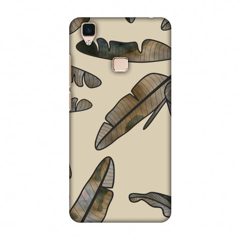 Lined Banana Leaves - Beige Slim Hard Shell Case For Vivo V3