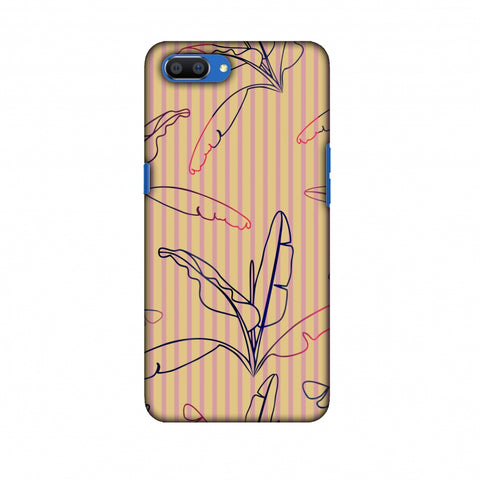 Outlined Banana Leaves - Beige Slim Hard Shell Case For Oppo Realme C1