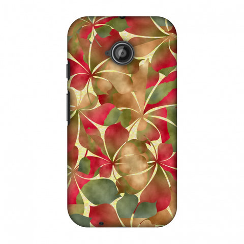 Overlapped Leaves - Green And Red Slim Hard Shell Case For Motorola Moto E 2nd Gen