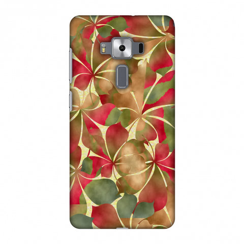 Overlapped Leaves - Green And Red Slim Hard Shell Case For Asus Zenfone 3 Deluxe ZS570KL