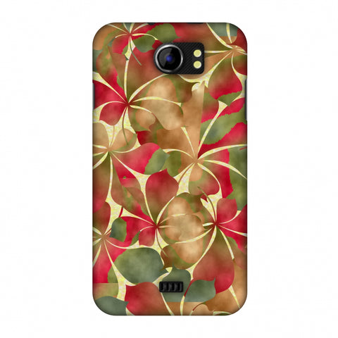 Overlapped Leaves - Green And Red Slim Hard Shell Case For Micromax Canvas 2 A110