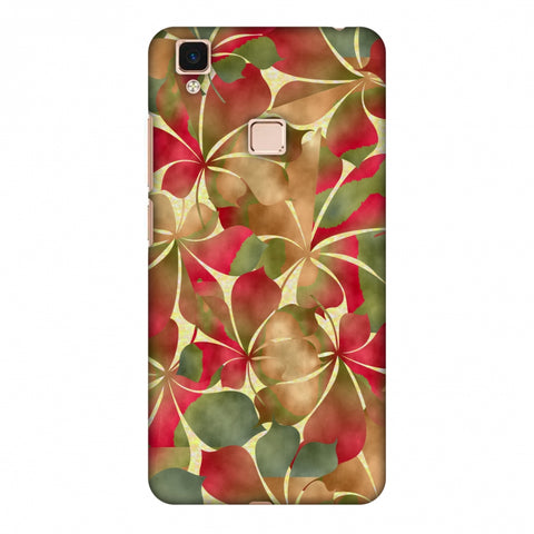 Overlapped Leaves - Green And Red Slim Hard Shell Case For Vivo V3 Max