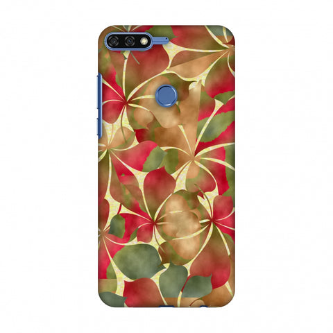 Overlapped Leaves - Green And Red Slim Hard Shell Case For Huawei Honor 7C