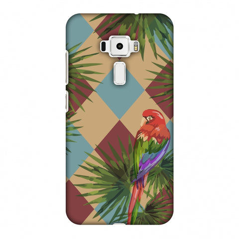 Parrot And Palm - Red And Light Blue Slim Hard Shell Case For Asus Zenfone 3 ZE520KL