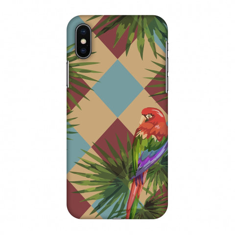 Parrot And Palm - Red And Light Blue Slim Hard Shell Case For Apple iPhone X