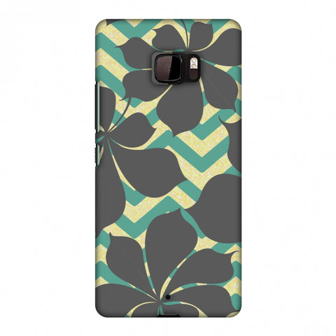 RAndom On Chevron - Yellow And Teal Slim Hard Shell Case For HTC U Ultra