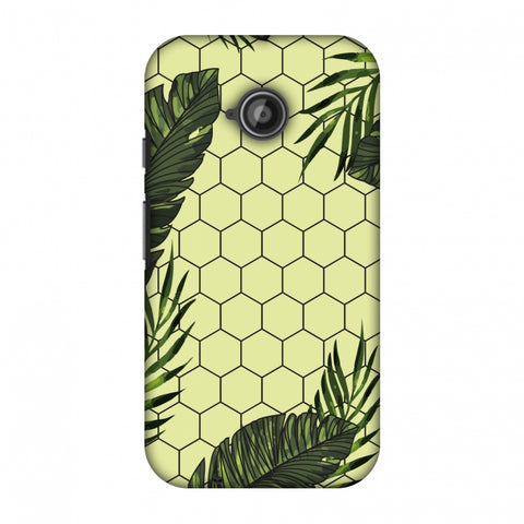 Tropical Leaves - Honey Yellow Slim Hard Shell Case For Motorola Moto E 2nd Gen