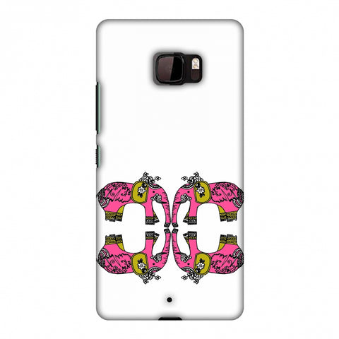 Elephant Repeats - Transparent Slim Hard Shell Case For HTC U Ultra